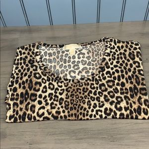 Michael Kors Tunic Shirt Short Sleeve Leopard